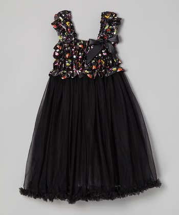 Black Halloween Ruffle Chiffon Dress - Infant, Toddler & Girls