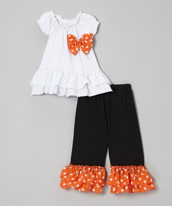 White Top & Black Polka Dot Pants - Toddler & Girls
