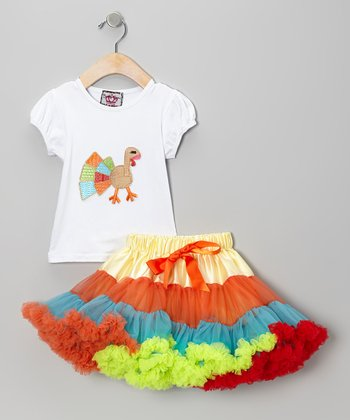 White Turkey Tee & Rainbow Pettiskirt - Toddler & Girls