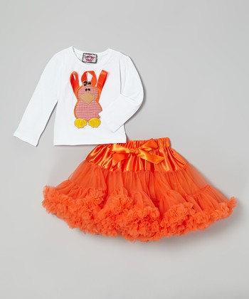 White Turkey Tee & Orange Pettiskirt - Infant, Toddler & Girls