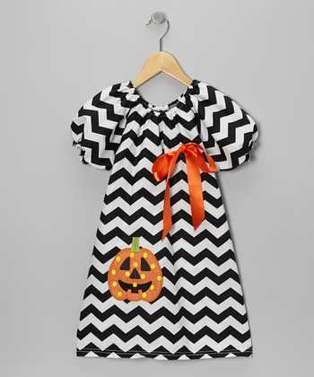 Black & White Zigzag Pumpkin Dress - Toddler & Girls