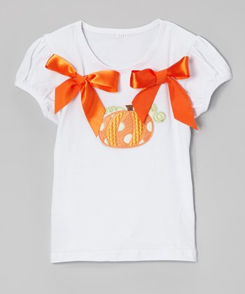 White Pumpkin Bow Puff-Sleeve Tee - Infant & Toddler