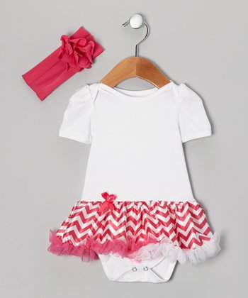 Pink Zigzag Skirted Bodysuit & Headband - Infant