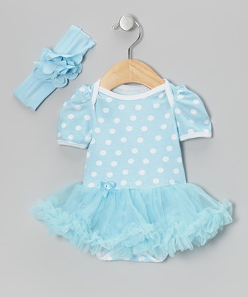 Blue Polka Dot Skirted Bodysuit & Headband
