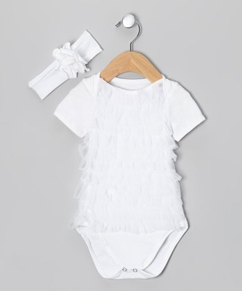 White Ruffle Bodysuit & Headband