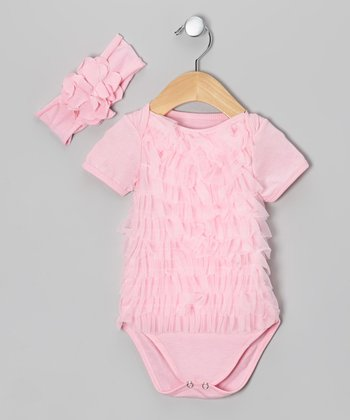 Pink Ruffle Bodysuit & Headband - Infant