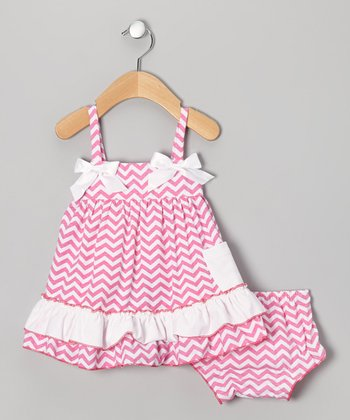 Pink Zigzag Swing Top & Diaper Cover - Infant