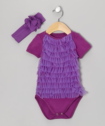 Purple Ruffle Bodysuit & Headband - Infant