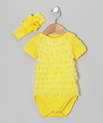 Yellow Ruffle Bodysuit & Headband - Infant