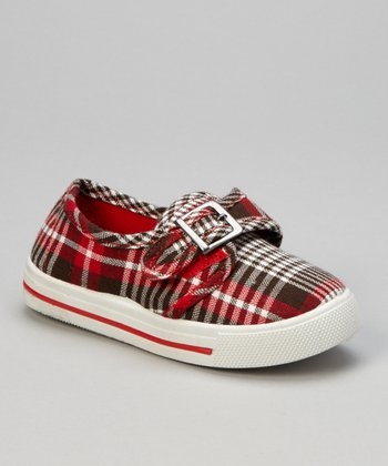 Red Plaid Buckle Sneaker