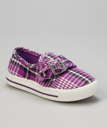 Purple Plaid Buckle Sneaker