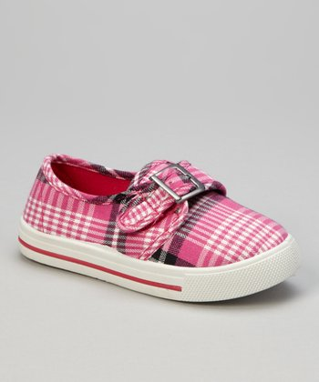 Fuchsia Plaid Buckle Sneaker