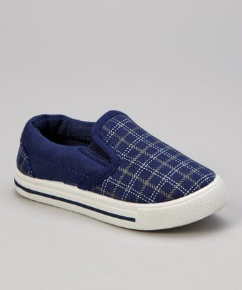 Navy Plaid Slip-On Shoe