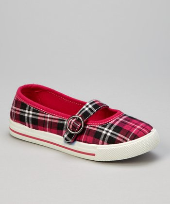 Fuchsia Plaid Mary Jane Sneaker