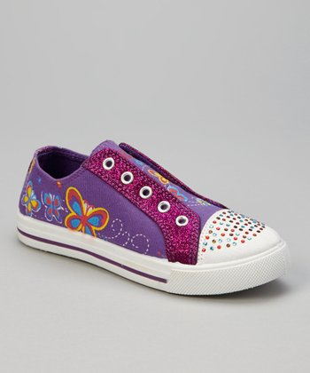 Purple Butterfly Glitter Slip-On Sneaker