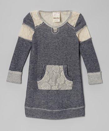 Navy Lace Sweatshirt Dress - Toddler & Girls