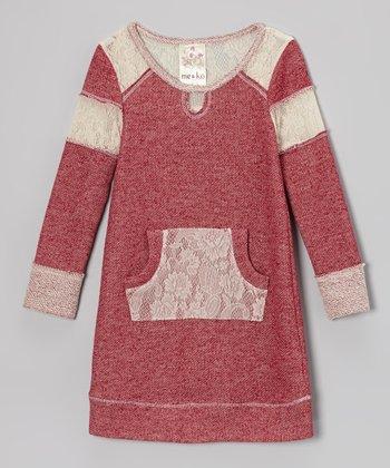 Red Lace Sweatshirt Dress - Toddler & Girls