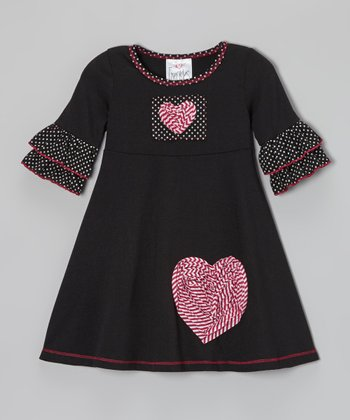 Black Heart Polka Dot Ruffle Dress - Toddler & Girls
