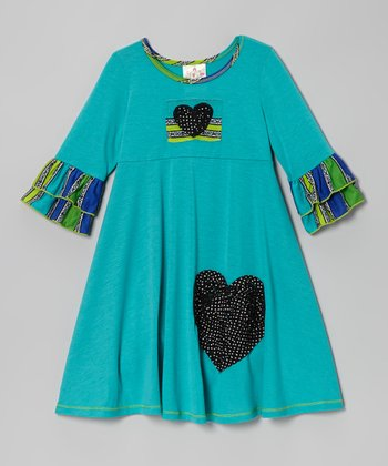Jade Heart Stripe Ruffle Dress - Toddler & Girls