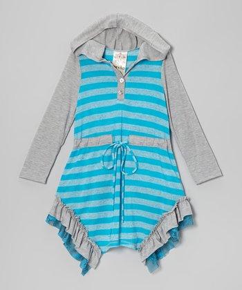 Turquoise Stripe Ruffle Hoodie Dress - Toddler & Girls