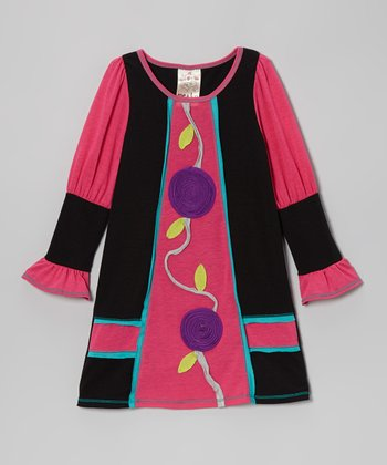 Black & Fuchsia Flower Dress - Toddler & Girls