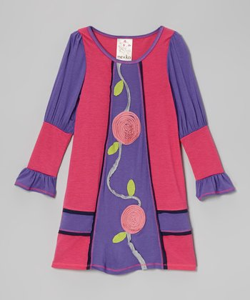 Fuchsia & Purple Flower Dress - Toddler & Girls