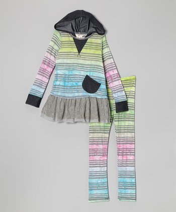 Gray Watercolor Stripe Ruffle Tunic & Leggings - Toddler