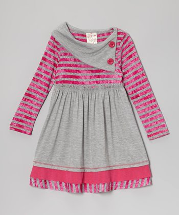 Fuchsia & Gray Stripe Button Collar Dress - Toddler & Girls