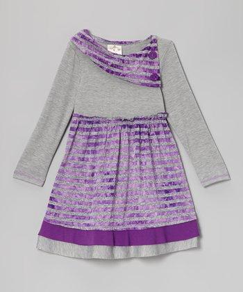 Purple & Gray Stripe Button Collar Dress - Toddler & Girls