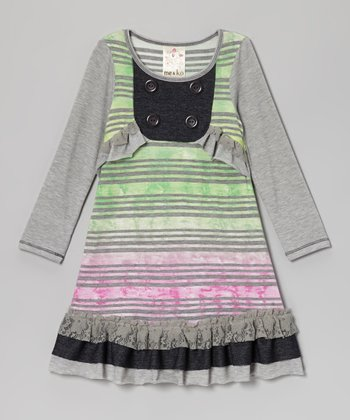 Gray Watercolor Stripe Ruffle Bib Dress - Toddler & Girls