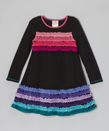 Black Rainbow Ruffle Stripe Dress - Toddler & Girls