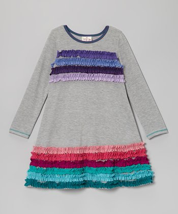 Gray Rainbow Ruffle Stripe Dress - Toddler & Girls