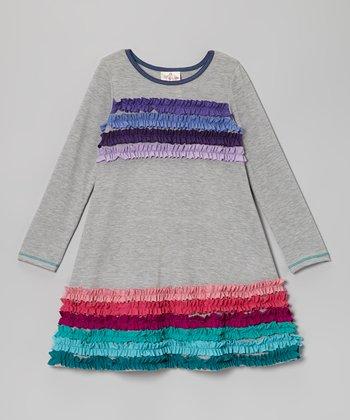 Gray Rainbow Ruffle Stripe Dress - Toddler & Girls