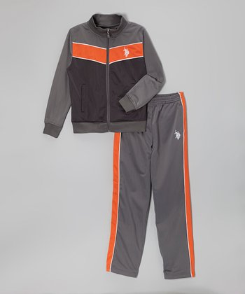 Gray & Orange Zip-Up Jacket & Track Pants - Boys