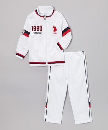 White & Red Stripe Zip-Up Jacket & Track Pants - Toddler & Boys