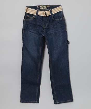 Dark-Wash Stripe Belted Straight-Leg Jeans - Boys