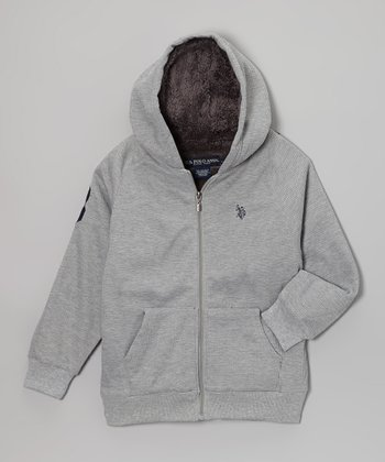 Heather Gray Sherpa Zip-Up Hoodie - Boys