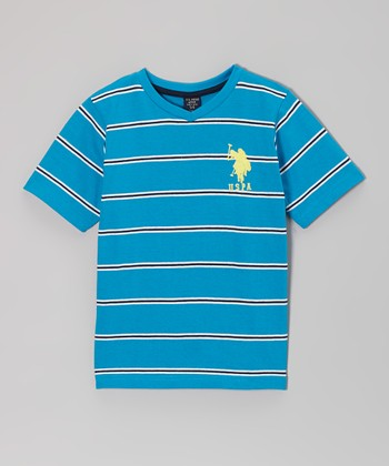 Turquoise & White Stripe V-Neck Tee - Toddler & Boys
