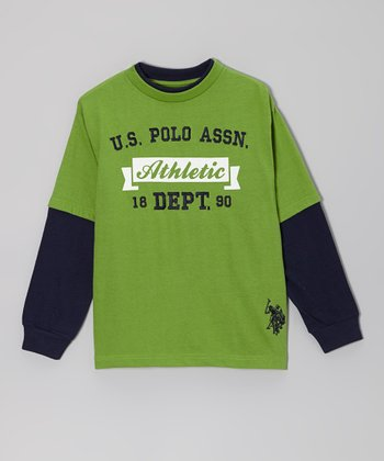 Green 'Athletic' Layered Tee - Boys