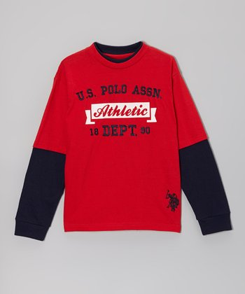 Red 'Athletic' Layered Tee - Boys
