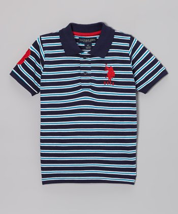 Navy & Turquoise Stripe Polo - Toddler & Boys
