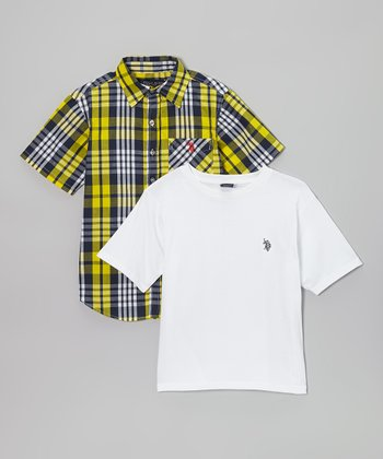 Navy & Yellow Plaid Button-Up - Boys