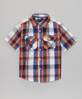 Blue & Orange Plaid Button-Up - Boys