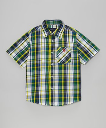 White & Green Plaid Button-Up - Boys