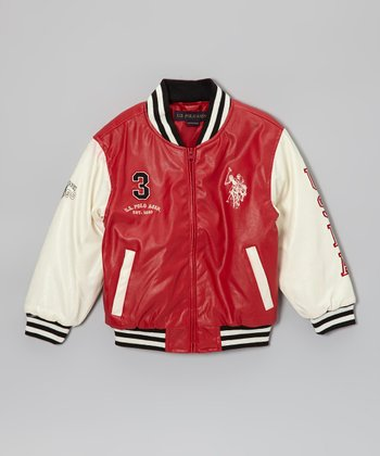 Red & White 'USPA' Varsity Jacket - Boys