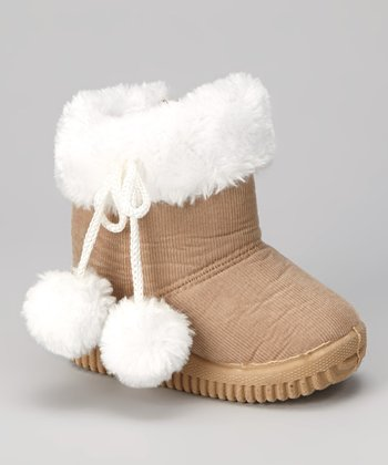 Beige & White Faux Fur Corduroy Boot - Kids