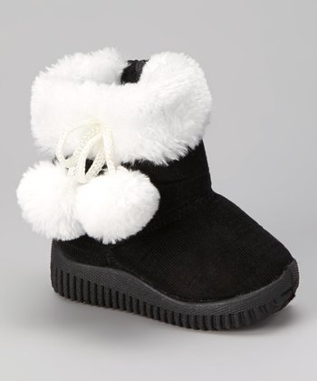 Black & White Faux Fur Corduroy Boot - Kids