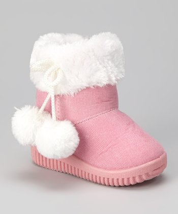 Pink & White Faux Fur Corduroy Boot - Kids