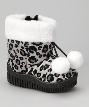 Black Animal Pom-Pom Boot