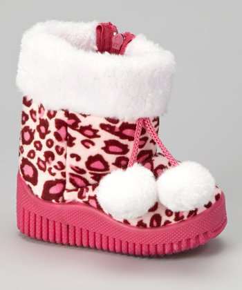 Fuchsia Animal Pom-Pom Boot